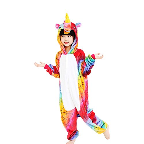 Mystery&Melody Kinder Einhorn Pyjamas Tier Einhorn Overall Nachtwäsche Unisex Cosplay Kostüm für Kinder Kinder (Mystery Man Kostüm)