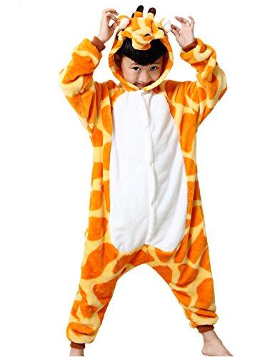 HONFONF Giraffe Kinder Jumpsuit Kinder Onesies Anime Halloween Weihnachten Karneval Cosplay Kigurumi Outfit Kostüm Stück Anzüge (Molkerei Mädchen Kostüm)