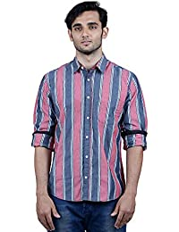 TORCY Men's Regular Fit Checked Casual Shirt (Black & Red)
