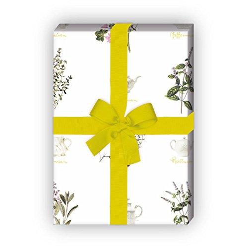 Elegantes Kräuter Tee Geschenkpapier Set (4 Bogen) | Dekorpapier für tolle Geschenk Verpackung und Überraschungen zur Taufe, Geburt, Ostern, Geburtstag, Hochzeit, Weihnachten u.v.m. 32 x 48cm Elegante Tee-sets