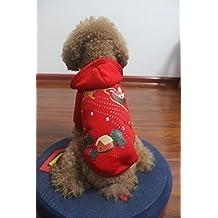 Felpa con cappuccio natalizio di gatto di animale domestico del gatto del cane dell'animale domestico Santa dell'animale di Santa coperto di stampa vestito caldo Camicia di inverno Costume di inverno con la protezione rossa