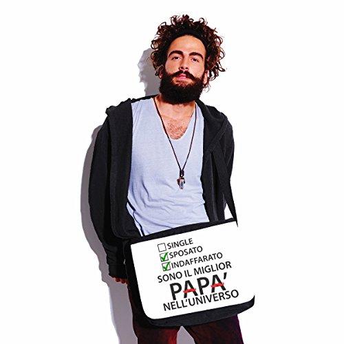 Borsa a tracolla Festa del Papà Sono il miglior Papà nelluniverso - humor - happy fathers day - idea regalo - - dimensioni 35x30x11,5 cm Bianco