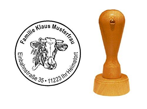Stempel Motivstempel « KUH BULLE KOPF BAUER » mit persönlicher Adresse Bauern Kopf