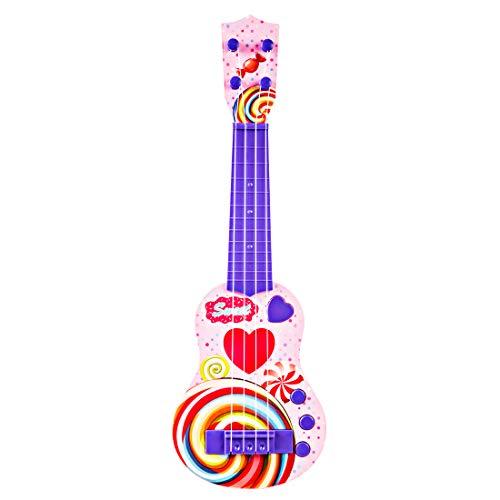 Foxom Guitarra Electrica Niños - 4 Cuerdas Infantil Rock Guitarra Juguetes con Luz - Instrumento Musical para Niño y Niña de 3 Años +