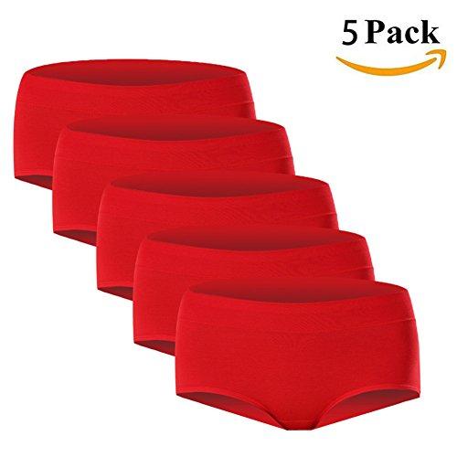 Underwear Cotton Womens Pack (LHZY Frauen Mädchen Baumwolle Grundlegende Unterwäsche Mittlere Taille Plain Panties Full Briefs Boyshort Pack von 5)