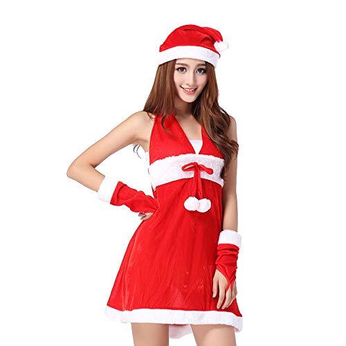 Amphia 4-teilig Damen Anzug für Frau Kostüm Weihnachten Suite Nikolauskostüm Weihnachtsmannkostüm (1pc Kleid Rot/1pc Hut /1pc-Gürtel /1pc Leggings) (Rot -A, Free Size)
