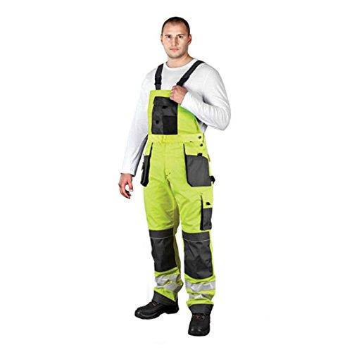 Arbeitslatzhose mit Reflektoren neongelb Warnschutzhose Warnschutzlatzhose Latzhose Warnschutz Arbeitshose Sicherheitshose 62 gelb