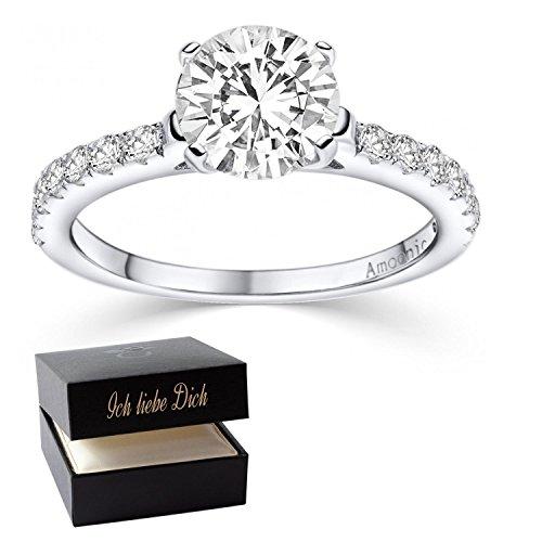 Verlobungsringe mit Zirkonia Stein Silber Damen 925 + LUXUSETUI! Verlobungsring Heiratsantrag Idee Antrag Hochzeit Idee Silberring Ring Zirkonia wie Diamant-Ring Damenring AM289 SS925ZIFAZIFA56 (Echter Diamant Ringe Für Damen)