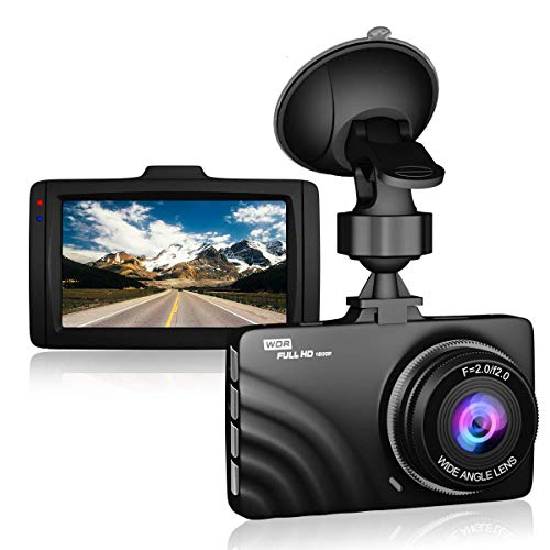 "Claoner Dash Cam 1080P Full HD Dashcam Car Camera DVR Dashboard Camera 3"" IPS Screen 170° Wide Angle, G-Sensor, WDR, Parking Monitor, Loop Recording, Motion Detection"