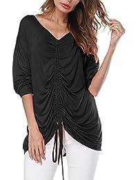 Mujer blusa casual verano y Otoño,Sonnena Las mujeres O-cuello volantes de media manga de color puro Tops blusa suelta camiseta mujer fashion Otoño fiesta citas playa