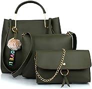 Mammon Women's Handbag With Sling Bag & Clutch (Set of 3) (3LR-bib-Green-Ti