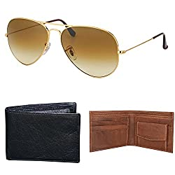 Combo Pack of Aviator Sunglasses, Money Wallet & Belt for Boys / Mens ( GoldenBrown-BlackWallet-LytBrownWallet ) ( CM-ASSE-018 )