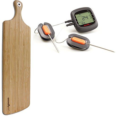 Smoke Max® PRO Set - Pro6 Bluetooth Smart Wireless BBQ application Barbecue Thermomètre + Smoke Max® XXL géant Grand plateau Planche à découper Design Planche à Découper en Bambou 100% naturelles