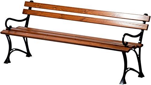 dobar Große Garten Sitzbank aus Gusseisen massiv, FSC für draußen wetterfest, Holzbank mit Lehne aus Metall, 180 x 45 x 72,5 cm, braun