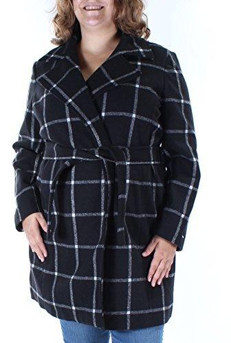 Tommy Hilfiger Women's Windowpane Belted Walker Coat (Small, Snow White) (Womens Walker Snow)