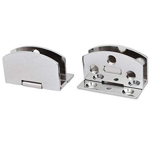 sourcingmap® 2 Stück 5mm-8mm Dicke Wand montiert Glas Tür Klemme Clip Scharnier Silber