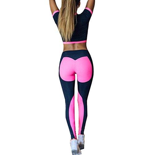 Frauen Sport Anzug Sexy Trainingsanzug - Juleya Sport Tank Top BH und Strumpfhosen Leggings Workout Lauf 2Pcs Set Rose Outfits Sportanzug Fitness Sportswear