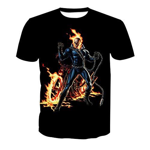 XJXTX 3D T-Shirt Rundhals Unisex Kurzarm-Shirt Ghost Rider XXL