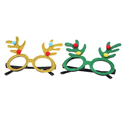 Amosfun 2 Stück Weihnachten Brillen Geweih Brillen verkleiden Sich Kostüm Party Brillengestell Weihnachten Party Gefälligkeiten