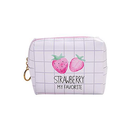 kanggest Make-up Taschen Erdbeere Muster Kosmetiktasche Reise Schminktaschen Frauen Portable Make Up Tool Bag für Teenager Mädchen Frauen Dame