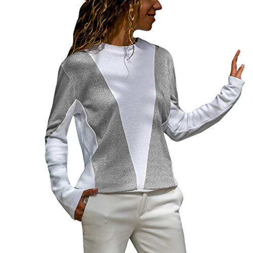 Kobay Damen T-Shirt Langarm Sparkle Glitter Oansatz Bluse Damen Casual Oberteile(S,Grau)