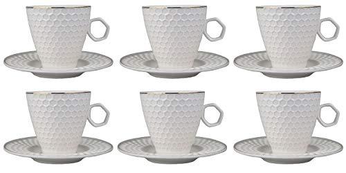 Edle Mokka Kaffeeservise Mokkaservice Porzellan Weiß Gold 12 Teile Kaffeetasse türkische Kaffee (Design 1 Weiß Gold, Mokkaservise)