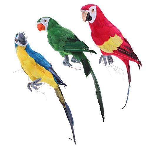 Homyl 3pcs Papagei Ara Zaunfigur Gartenfigur Zaunhocker und Zaungast Balkon, Terrasse, Zaun, Wand, Baum Dekoration, 3 Farben