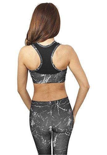 Urban Classics TB908 Ladies Sprinkled Sport Bra Streetwear Sous Vetements Black-White