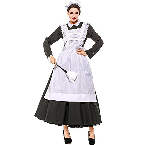 (Hukangyu1231 Halloween Party Party Kostüm Bühne Leistung Leistung Maid Kostüm Französisch Manor Maid Kostüm Rolle Damen Halloween Kostüm)