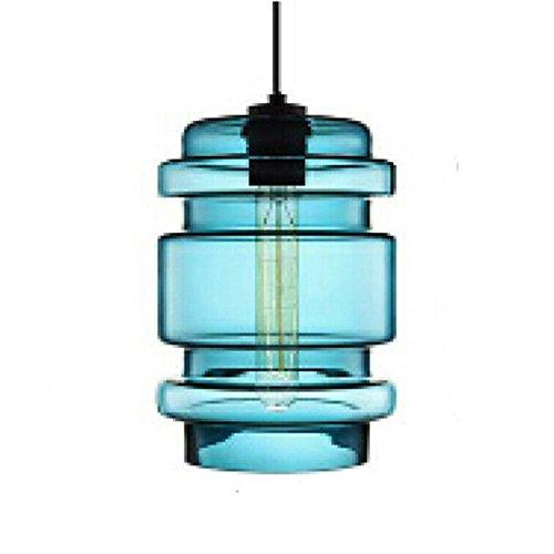 MZStech 1-Licht einfaches modernes Design Glas Kronleuchter Glas Anhänger Licht Lampenschirm (Blau)