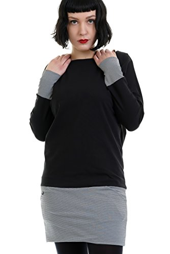 Kleid Pullover Damen Langarm Minikleid Jersey Minirock Freizeitkleid 3Elfen Rockabilly schwarz kleine Streifen XS Langarmkleid (Zurück-jersey-kleid)