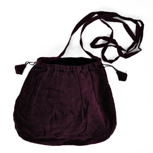 Schnürbare Mittelalter Tasche, braun, mit langem Schulterband