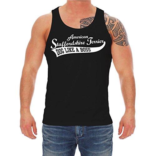 Männer und Herren Trägershirt American Staffordshire Terrier SUMMER (mit Rückendruck) Schwarz