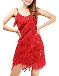 Donna Latino Vestito Salsa Abito Danza Frange Costume Scollo Rotondo Colore  Puro 8e70ea725c1