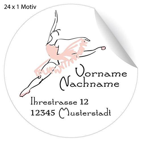 24 edle, Custom Ballett Adress-Aufkleber mit rosa Ballerina, MATTE Papier Sticker mit ihrem Text nach Wunsch universal Etiketten, Namensschilder (4,5cm)