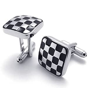 Konov Jewellery 2pcs Classic Quadrate Mens Cufflinks Wedding, Color Silver Black, 1 Pair (with Gift Bag)