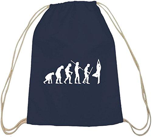 Shirtstreet24, Evolution Yoga, Cotone Natura Zaino Borsa Sportiva Borsa Blu Scuro Natura