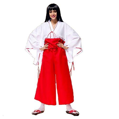 Koola Damen Japanische Hexe Miko Kostüme Erwachsene Kostüm Kit Gr. Größe L, Rot/Weiß (Japanische Kostüm Für Erwachsene)