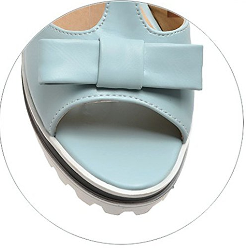 Aisun Damen Schleife T-Spange Offene Zehe Durchgängiges Plateau Sandale Blau