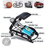 4tens Aluminum Alloy MTB Motorcycle Car Basketball Foot Heavy Air Pump 150 Psi High-Pressure Steel No-Slip Bike Inflatable Black (Black And Blue)
