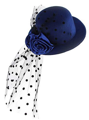 DEMU Mädchen Kinder Faszinator Federhut Haarklammer Minihut Zylinder Cosplay Party Theater Blau (Kate Middleton Halloween Kostüme)