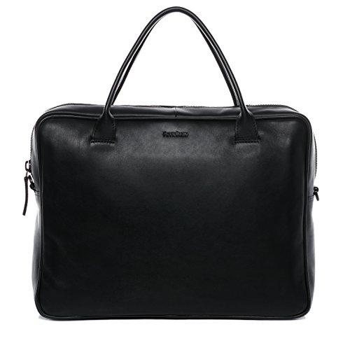 """Preisvergleich Produktbild FEYNSINN Laptoptasche FINN - Notebooktasche fit für 15.4"""" mit gepolstertem Gerätefach- Businesstasche - echt Leder schwarz"""