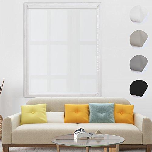 BelleMax Estor Enrollable Translúcido sin Taladrar Cortinas Persianas Fácil de Instalar para Ventanas y Puertas Blanco 90x160 cm