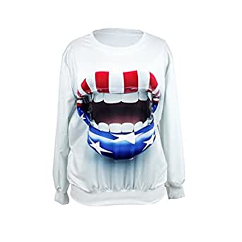 S-ZONE Womens Ladies Girl 3D Big Mouth Space Print Top Jumper Sweatshirt Long Sleeve T-Shirt