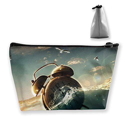 Kosmetiktasche Trapez Aufbewahrungstasche Uhr Wasser Meer Tragbare Kosmetiktasche Damen Mobile Reisetasche -