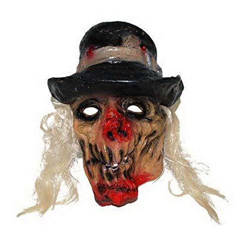 Luxuspiraten - Kostüm Accessoires Zubehör Horror Maske Alter Mann mit weißen Haaren und Hut, Mask with Hat, perfekt für Halloween Karneval und Fasching, ()