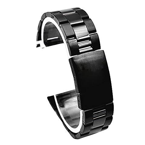 Cuitan 24mm Universel Bracelet en Acier Inoxydable pour Smart Watch Montres 24mm (La Montre Ne Sont Pas Inclus), Solide Chaîne Sangle Bande Bracelet de Montre Replacement Watchband - Noir