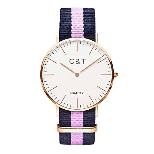 C + T Watch C1T Orologio con cinturino in Nylon Nato rosa e blu marine, cassa dorata