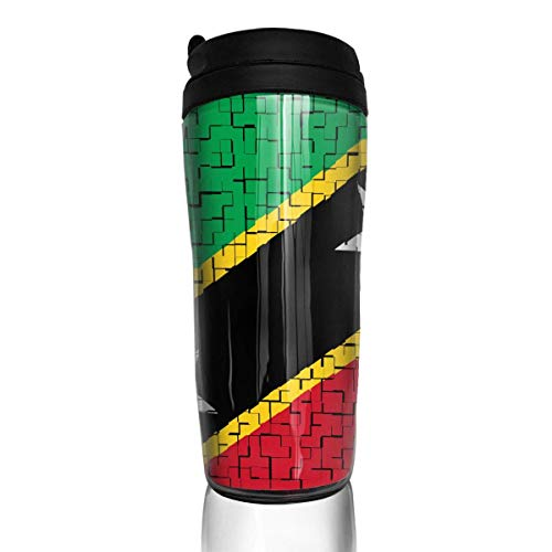 Travel Coffee Mug Saint Kitts and Nevis Flag Puzzle 12 Oz Spill Proof Flip Lid Water Bottle Environmental Protection Material ABS