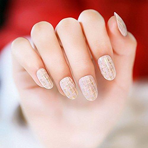 YUNAI Faux Ongles - Or Motif ronde Petits Faux Ongles Japanese Style Nail Art Tips Salon Manicure Art 24 pcs/set